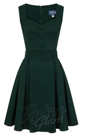 Collectif Enid Swing Dress in Green detail