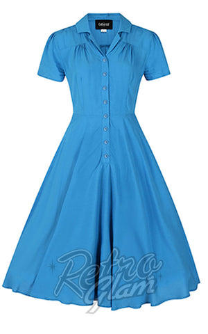 Collectif Gayle Swing Dress in Blue detail