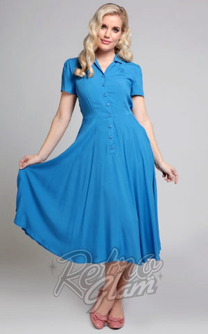 Collectif Gayle Swing Dress in Blue