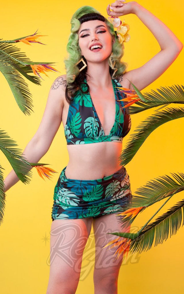 Collectif X Playful Promises Triangle Bikini Top & Skirted Bottom in Green Palm Print