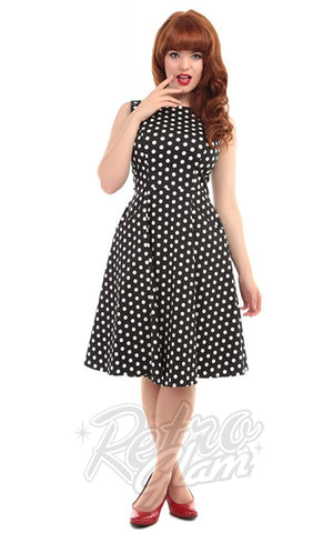 Collectif Hepburn Doll Dress in Black & White Polka