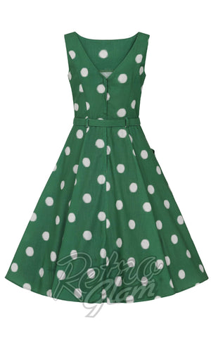 Collectif Hepburn Painted Polka Swing Dress in Green back