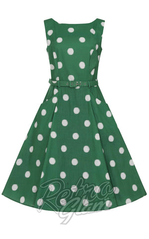 Collectif Hepburn Painted Polka Swing Dress in Green
