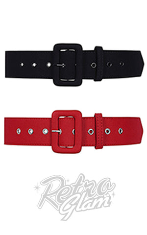 Collectif Jade Plain Belt in Black or Red