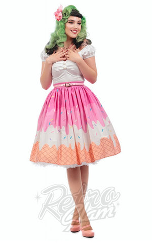Collectif Jasmine Swing Skirt in Ice Cream Print