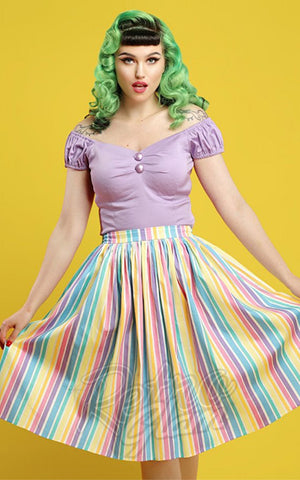 Collectif Jasmine Swing Skirt in Rainbow Stripes 50s