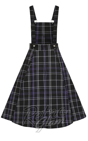 Collectif Kayden Overalls Swing Dress in Nancy Check Plaid back