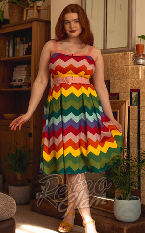 Collectif Dorothy Rainbow Chevron Swing Dress