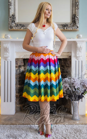 Collectif Marilu Rainbow Chevron Swing Skirt