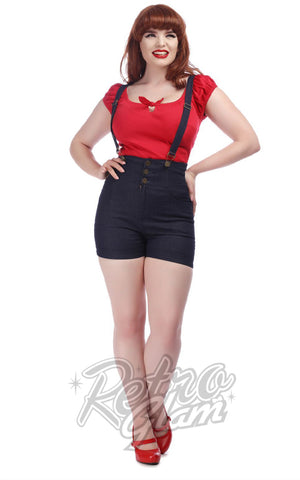 Collectif Nomi Denim Dungaree Shorts