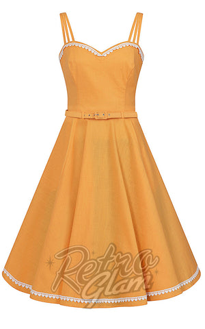 Collectif Nova Heart Trim Swing Dress in Orange - Pre-Order