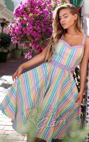 Collectif Nova Rainbow Stripes Swing Dress