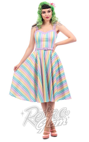 Collectif Nova Rainbow Stripes Swing Dress pinup