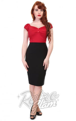 Collectif Polly Bengaline Pencil Skirt in Black