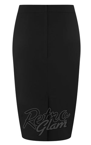 Collectif Polly Bengaline Pencil Skirt in Black back