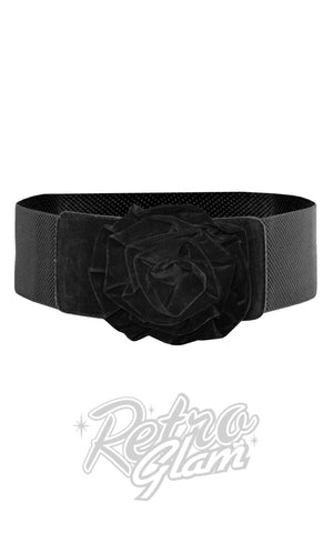 Collectif Velvet Rose Belt in Black