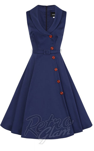 Collectif Sara Swing Dress in Navy detail