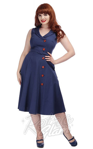 Collectif Sara Swing Dress in Navy