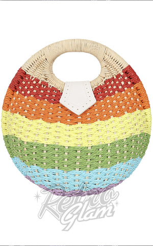 Collectif Julia Rainbow Wicker Handbag