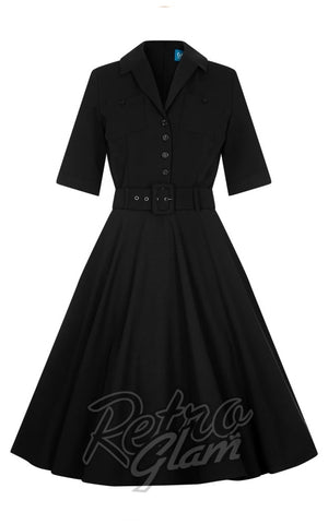 Collectif retro 1950s black Zoe Swing shirt Dress front