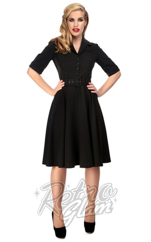 Collectif 1950s black Zoe Swing shirt Dress