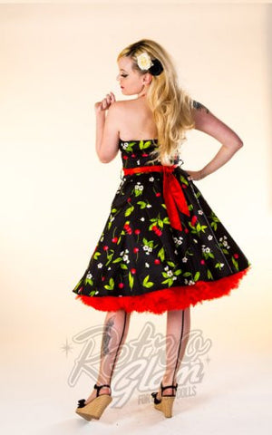 Hearts and Roses Black with Cherry and Floral Print Swing Dress