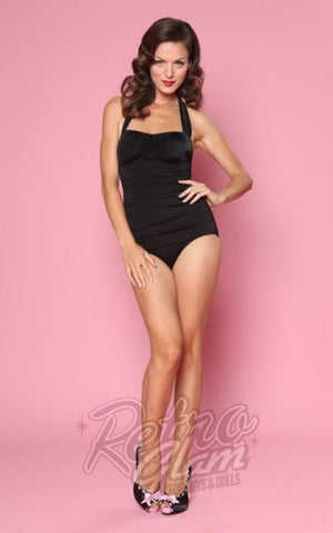 Esther Williams Classic Sheath Swimsuit in Black
