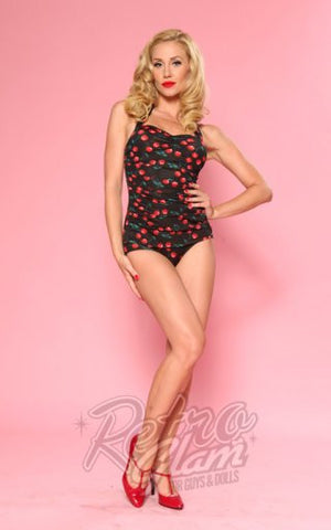 Esther Williams Rockabilly Classic Sheath Swimsuit in Cherry Print