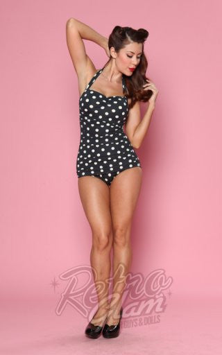 Esther Williams Classic Sheath Swimsuit in Black & White Polka Dot