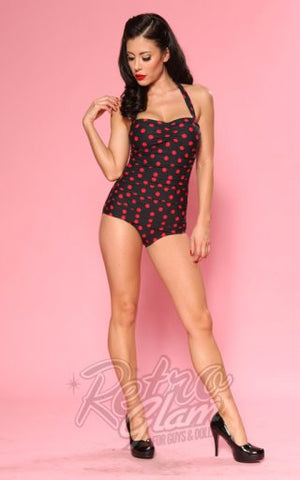 Esther Williams Classic Sheath Swimsuit in Black and Red Polka Dot