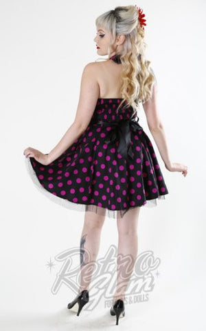 Hearts and Roses Black with Purple Polka Dot Mini Dress