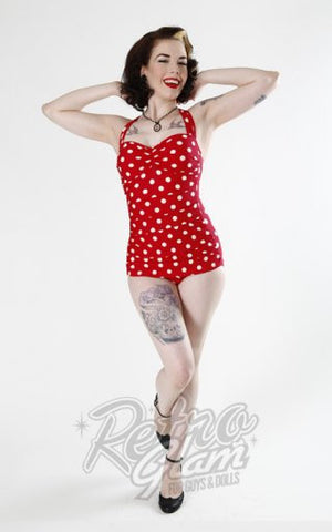 Esther Williams Classic Sheath Swimsuit in Red and White Polka Dot