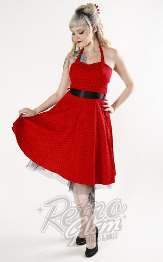 Hearts and Roses Lucy Halter Dress in Red Pindot