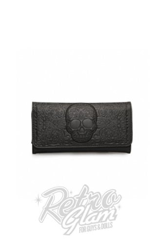 Loungefly Black on Black Lattice Skull Wallet