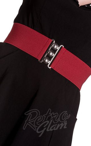 Hell Bunny Retro Belt in Burgundy