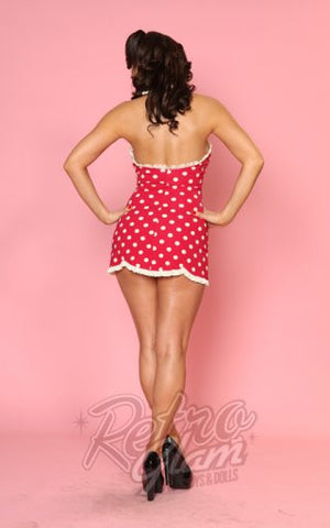 Bettie Page Halter Swimdress in Red and Antique White Polka Dot