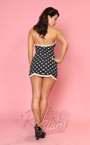 Bettie Page Halter Swimdress in Black and Antique White
