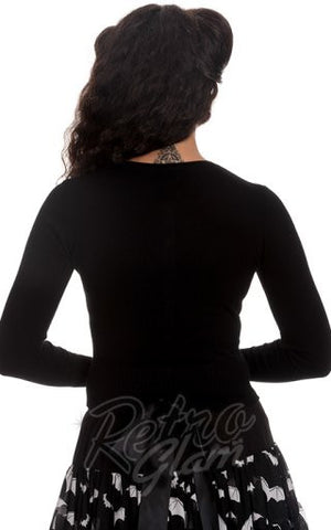 Hell Bunny Paloma Cardigan in Black Back