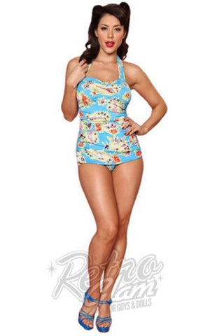 Esther Williams Pinup Classic Sheath Swimsuit in Seaside Blue