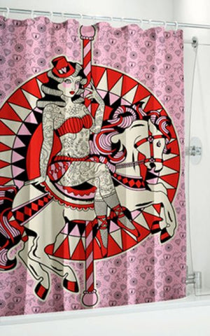 Sourpuss Carousel Horse Shower Curtain