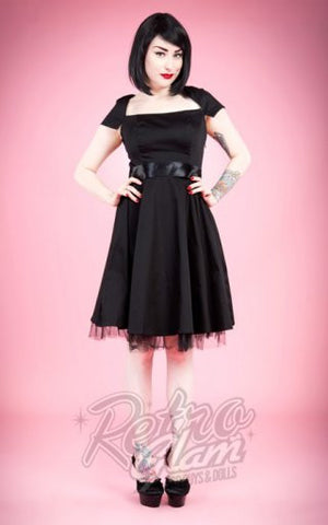 Hearts and Roses Sweet Virginia Cocktail Dress in Black