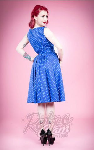 Hearts and Roses Vera Cocktail Dress in Blue Pin Dot