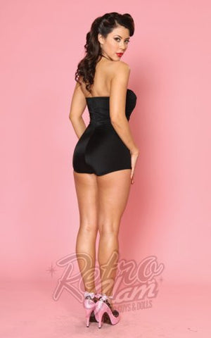 Bettie Page One Piece Ruched Retro Pin Up Swimsuit in Black