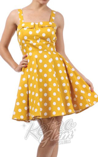5881508bd29 Ixia Pin-up Cruiser Dress in Yellow with White Dot – Retro Glam