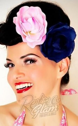 Heart of Haute Viva Hair Flower in Navy Blue