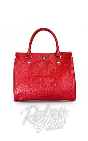 Loungefly Red on Red Lattice Skull Tote Purse