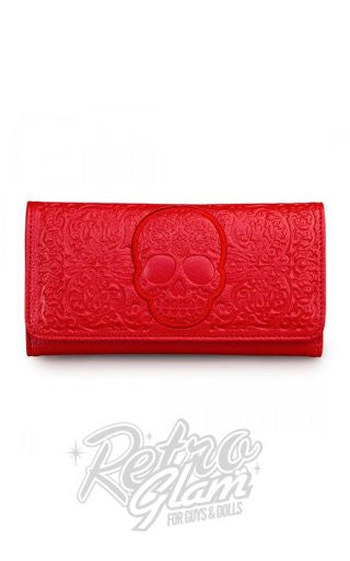 Loungefly Red on Red Lattice Skull Wallet
