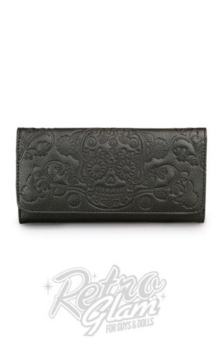 Loungefly Black Embossed Sugar Skull Wallet