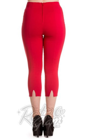 Hell Bunny Tina Capris in Red back