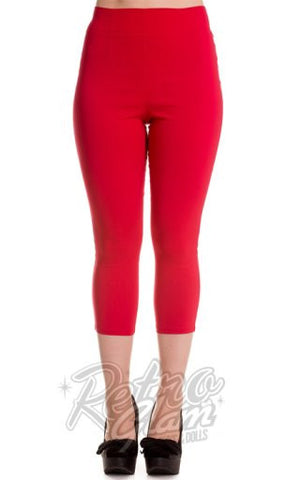 Hell Bunny Tina Capris in Red